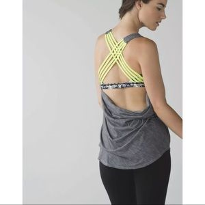 Lululemon Free To Be Wild Gray/ Yellow Tank Top